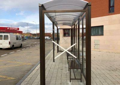 Marquesilla de aluminio para parada de bus
